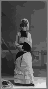 [young Woman Of The Cast Of Gilbert & Sullivan S  H.m.s. Pinafore , Posed Against A Painted Backdrop] Clip Art