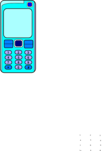 Mobile Phone With Blank Screen (blue) Clip Art