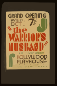The Warrior S Husband  Nightly Except Monday : Hollywood Playhouse. Clip Art