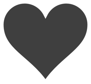 Grey Heart, White Outline. Clip Art