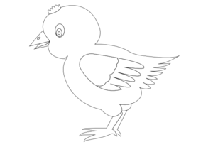 Chicken 002 Vector Coloring Clip Art