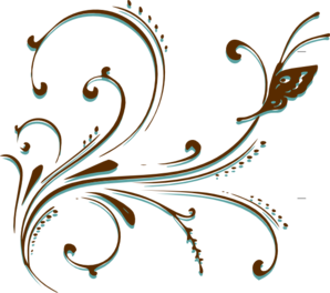 Brown Butterfly Scroll Clip Art
