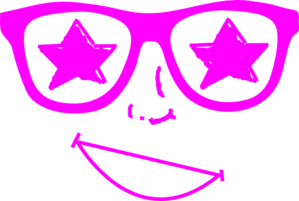 Purple Star Glasses Face Clip Art