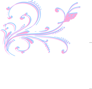 Baby Pink And Blue Floral Clip Art