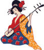 Geisha Playing Shamisen Clip Art