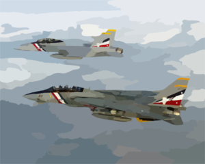 An F-14d Tomcat Assigned To The  Bounty Hunters  Of Fighter Squadron Two (vf-2), Heads Back To Its Home Base, Naval Air Station Oceana, Va. Clip Art