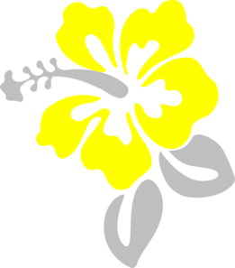 Hibiscus Grey And Yellow Clip Art