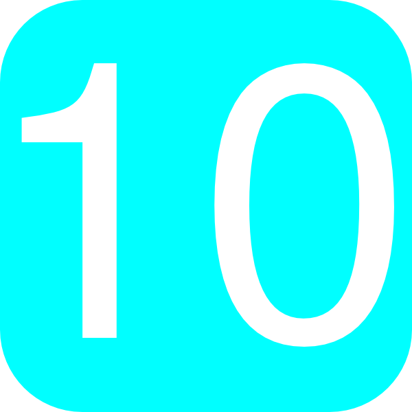 Light Blue  Rounded  Square With Number 10 Clip Art At