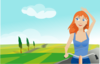 Girl Cycling In Spring Clip Art