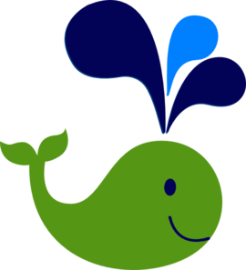 Green And Navy Whale Clip Art