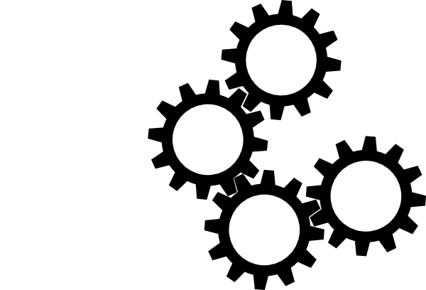 Clipart White And Black Cogs on simple gear cartoon