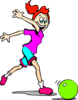 Girl Playing With A Bowling Ball Clip Art