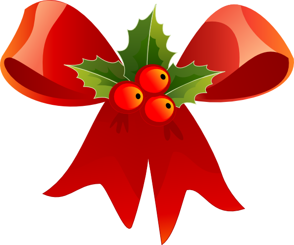 Christmas Bow With Holly Clip Art At Clker.com