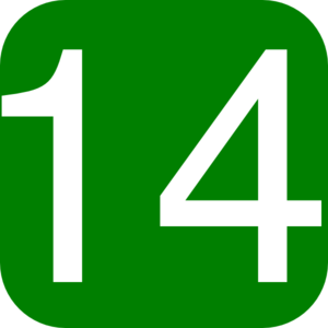 Green, Rounded, Square With Number 14 Clip Art