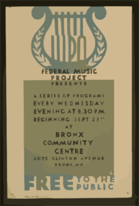 Wpa Federal Music Project Presents A Series Of Programs Every Wednesday Evening At 8:30 P.m. Free To The Public / Bl. Clip Art