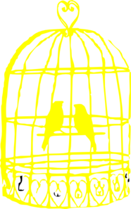 Yellow Bird Cage With Birds Clip Art