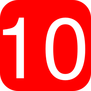 Red, Rounded, Square With Number 10 Clip Art