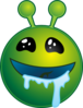 Smiley Green Alien Drooling No Shadow Clip Art