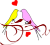 Yellowand Pink Birds On A Branch Clip Art
