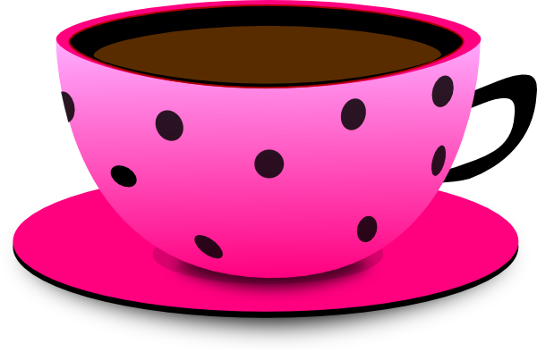 Pink & Black Dot Teacup Clip Art at Clker.com - vector ...