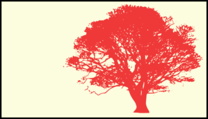 Tree, Red Silhouette, Cream Background Clip Art