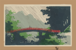 Rain Over Sacred Bridge (shinkyō). Clip Art