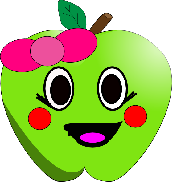 free smiling apple clipart - photo #4