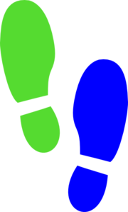 Shoe Print Blue Green Clip Art