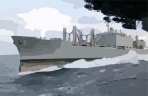 Usns Concord (t-afs 5) Pulls Alongside Kitty Hawk In Preparation For An Underway Replenishment (unrep) Evolution Clip Art