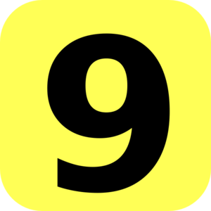 Yellow Rounded Number 9 Clip Art