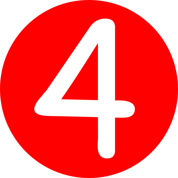 Red, Rounded,with Number 4 clip art