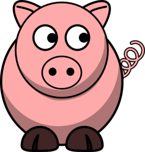 Pig Looking Right Clip Art