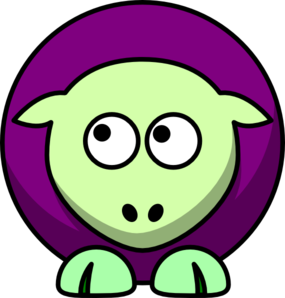Sheep 2 Toned Green And Purple Looking Up Left Clip Art