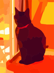 Black Cat On Tower In Living Room Crop Vector Clip Art