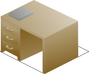 Isometric Desk Right Front View With Book Clip Art