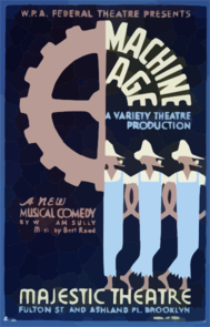 W.p.a. Federal Theatre Presents  Machine Age  A New Musical Comedy By William Sully .... Music By Bert Reed A Variety Theatre Production. Clip Art