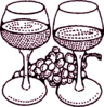 Large Wine Glasses With Grapes Maroon Clip Art