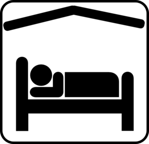 Hotel Motel Sleeping Accomodation Clip Art - Black/white Clip Art