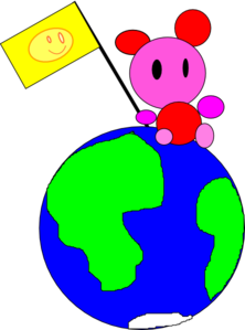 Happy Bear Sitting On Earth Clip Art
