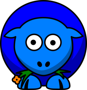 Sheep Blue Two Toned Clip Art