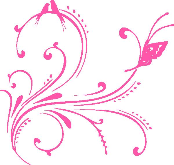 Pink Swirl Birds Butterfly Princess Clip Art At Clker