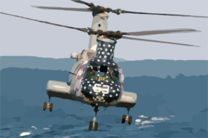 An Ch-46 Sea Knight Helicopter Assigned To Helicopter Combat Support Squadron Eleven (hc 11) Prepares To Pick Up Sling Loaded Cargo From The Fast Combat Support Ship Uss Camden (aoe 2). Clip Art
