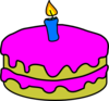 Birthday Cake One Candle Clip Art