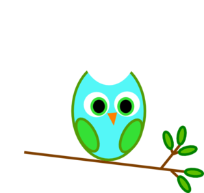 Blue Green Owl On A Branch Clip Art