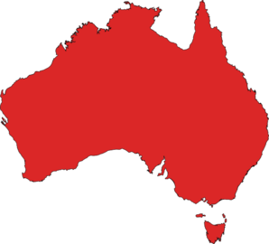 Australia Map (red) Clip Art