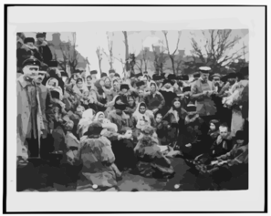 [crowd Of Refugees(?)--, Possibly Jewish, And Three Officials Outdoors, Russia] Clip Art