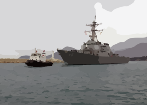 A Tug Boat Leads The U.s. Navy Guided Missile Destroyer Uss Gonzalez (ddg 66) Into Port Clip Art
