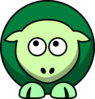 Sheep 2 Toned Greens Looking Up Left Clip Art