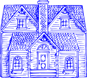 Heritage Home Blue Clip Art