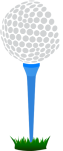 Golf Ball Blue Tee Clip Art